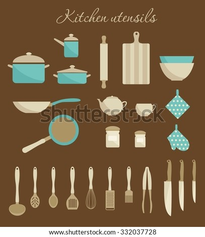Kitchen utensils icons. Flat simple design. Biege and turquoise colors. Vector illustration