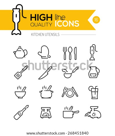 Kitchen Utensils line icons including, cookers, appliances, tools etc.. - stock vector