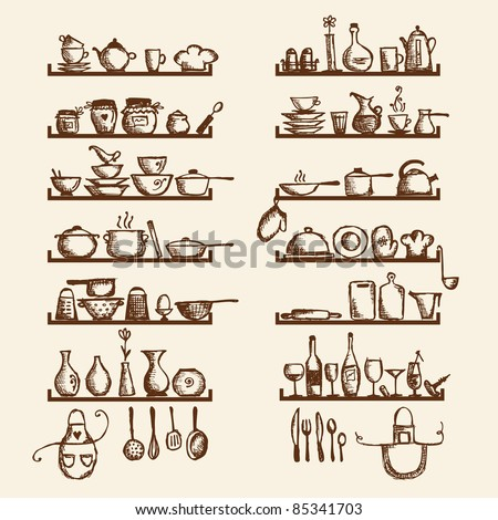 Kitchen utensils on shelves, sketch drawing for your design - stock vector