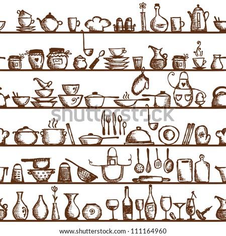Kitchen utensils on shelves, sketch drawing seamless pattern - stock vector