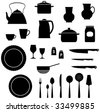 Kitchen utensils saucepan, teapot, knives etc. - stock vector