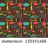 kitchen utensils seamless pattern - stock vector