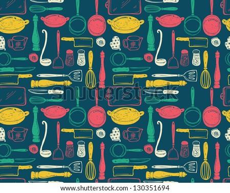 kitchen utensils seamless pattern - stock vector