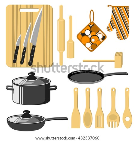 Kitchen utensils set. Cutting board, knives, rolling pin, pestle, potholder, pancake frying pan, pot, spoon, spatula and other. Isolated on white. Vector illustration. - stock vector