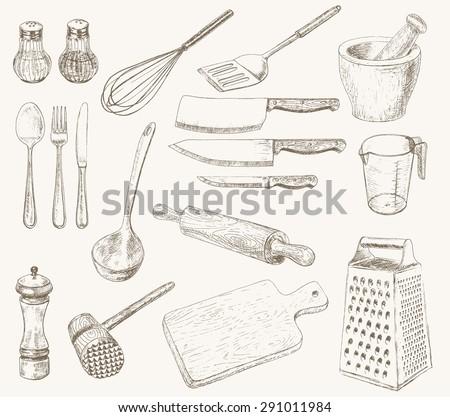 Kitchen utensils set. Hand drawn kitchenware and cutlery - stock vector