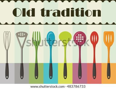 Vintage Kitchen Utensils Illustration vintage kitchen utensils stock vectors, images & vector art