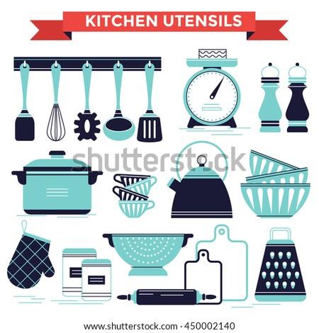 Kitchen utensils set vector illustration flat stock vector for Kitchen set vector