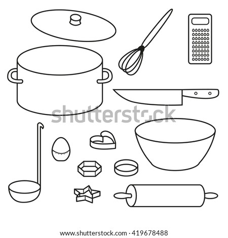 Kitchen utensils vector icons set