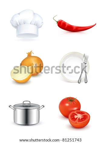Kitchen, vector icon set - stock vector