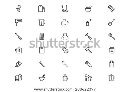 Kitchen Vector Line Icons 4