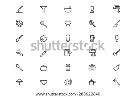 Kitchen Vector Line Icons 3 - stock vector