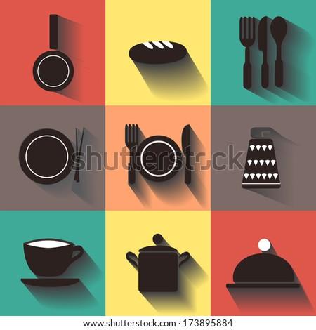 kitchen ware icons; Food  kitchen Utensil - stock vector