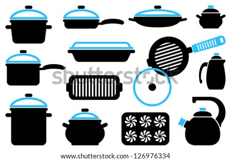 Kitchen ware: pans, frying pans, pots, teapots and another - stock vector