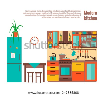 Kitchen with furniture. Flat style vector illustration. - stock vector