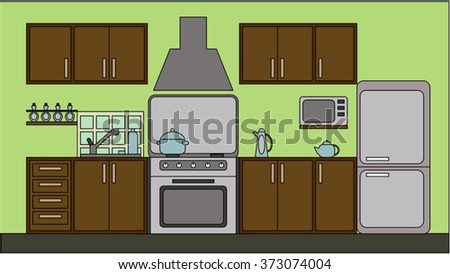 Kitchen with furniture. Flat style vector illustration