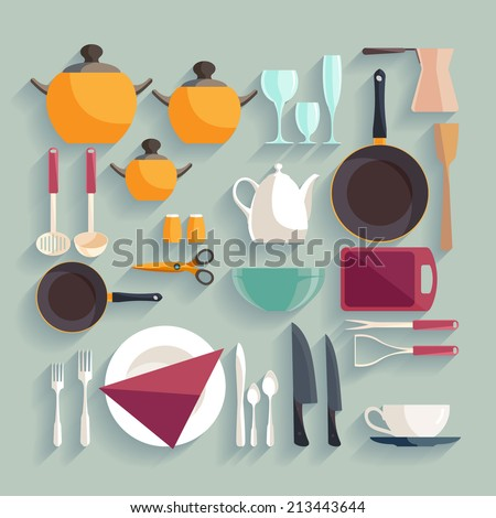 Kitchen workplace. Flat design. - stock vector