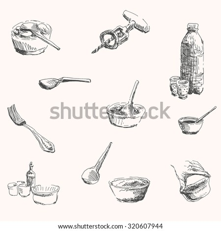 Kitchenware and cooking tool set with spoon, fork, corkscrew, glass, bottle, and dish in sketch hand drawn style, for food, restaurant business and cooking design - stock vector
