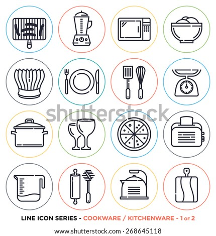 Kitchenware and cookware line icons set. Vector collection of cooking symbols & objects. - stock vector