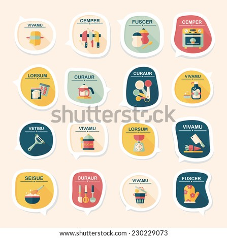 Kitchenware bubble speech flat banner design background set, eps10