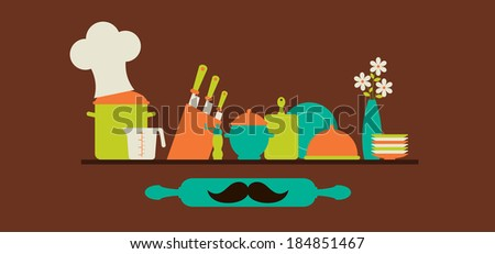 Kitchenware colorful set. Cooking concept
