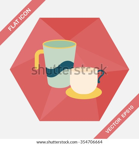 kitchenware cup flat icon with long shadow,eps10 - stock vector