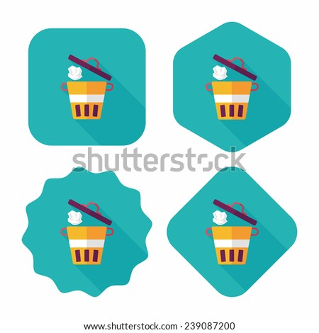 kitchenware garbage can flat icon with long shadow, eps10 - stock vector