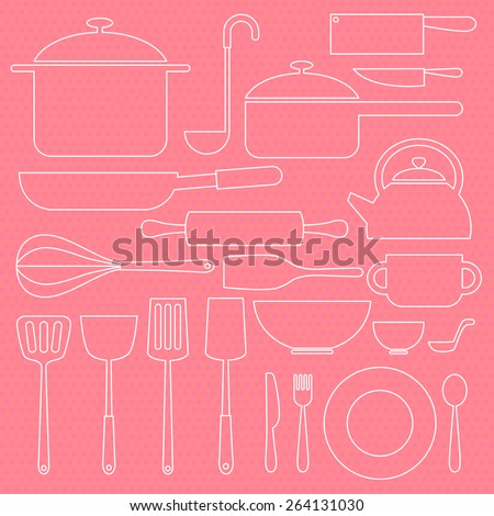 kitchenware icon in white line in sweet pink background - stock vector