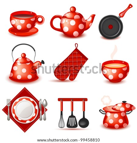 Kitchenware icon set - stock vector