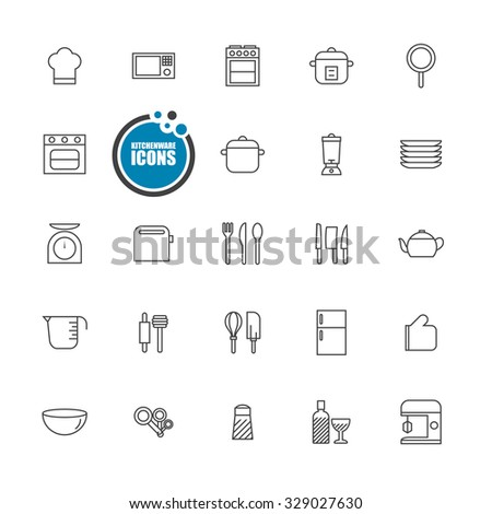 kitchenware icons line set - stock vector