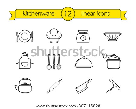 Kitchenware line icons set. Restaurant cooking utensils items. Kitchen equipment linear illustration. Vector outline drawings objects isolated on white - stock vector