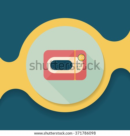 Kitchenware microwave oven flat icon with long shadow, eps10 - stock vector