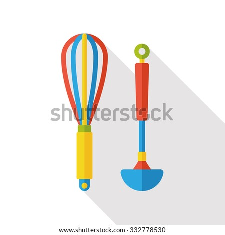kitchenware rolling pin and spoon flat icon - stock vector