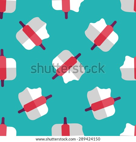 kitchenware rolling pin flat icon,eps10 seamless pattern background - stock vector
