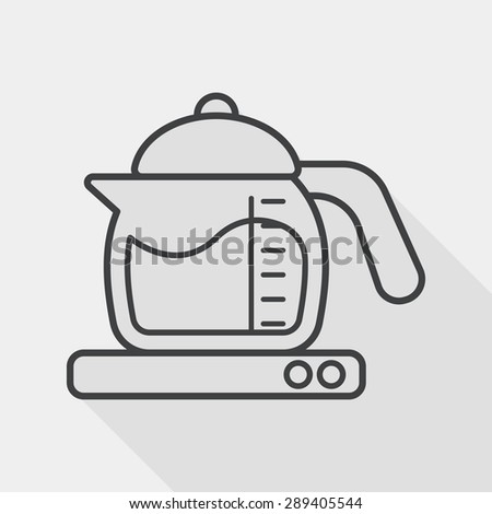 kitchenware tea pot flat icon with long shadow, line icon