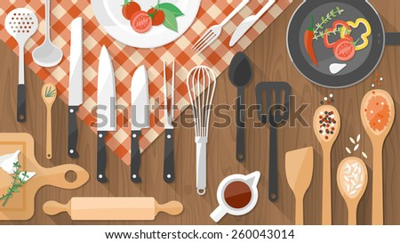 Kitchenware utensils and food on wooden worktop, food preparation and cooking concept - stock vector