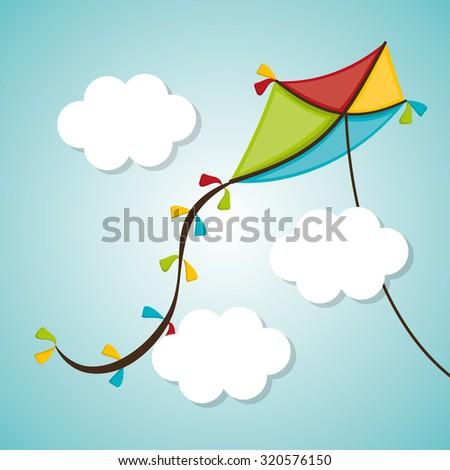 Kite childhood games cartoon design, vector illustration. - stock vector