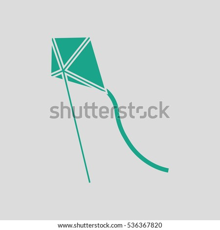 Kite in sky icon. Gray background with green. Vector illustration.