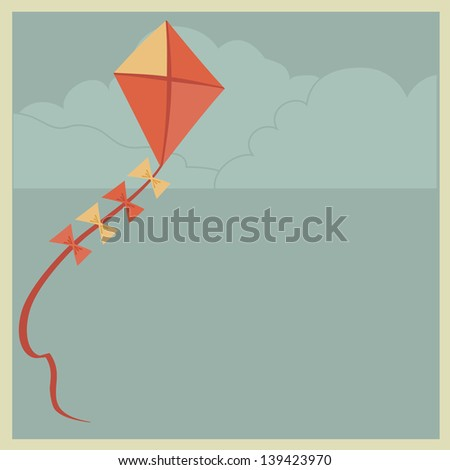 Kite on sky background.