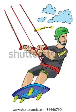 kite surfer - cartoon - stock vector