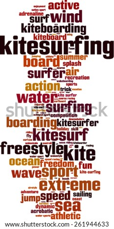 Kite surfing word cloud concept. Vector illustration