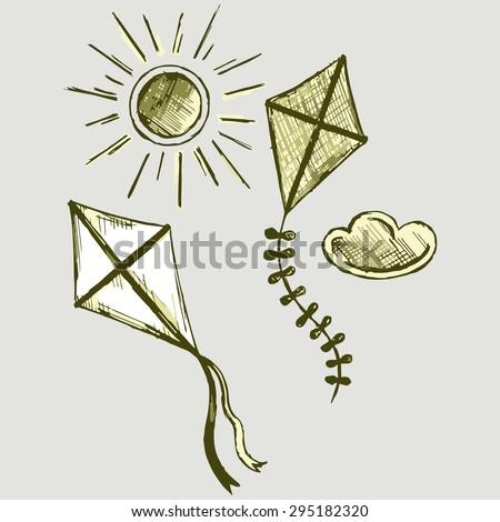 Kites in the sky. Vector Image - stock vector
