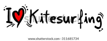 Kitesurfing love - stock vector