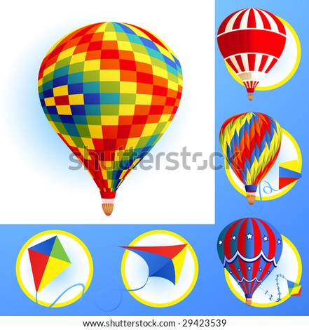 Kits and balloons, vector illustration