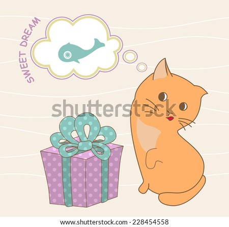 kitten dreaming of gifts in the form of fish - stock vector