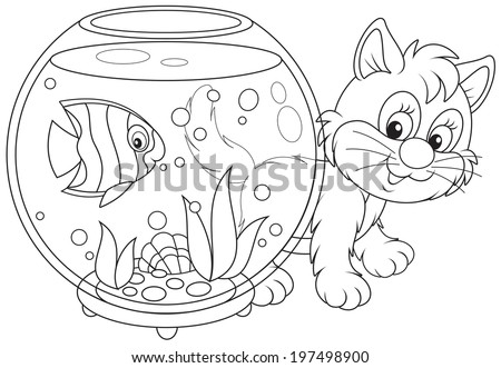 Kitten playing with an aquarium fish - stock vector