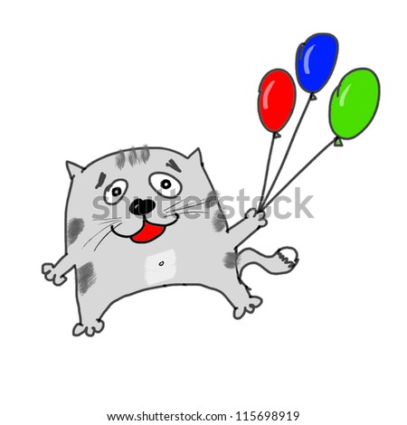 Kitten with colorful balloons on white