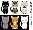 Kittens mascotte on white and black background - stock photo
