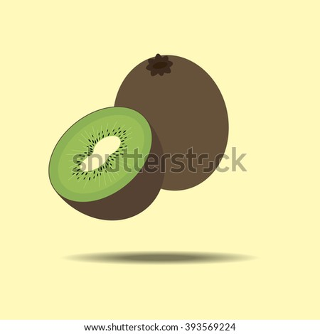 Kiwi Fruit Icon isolated on a yellow background. Vector illustration