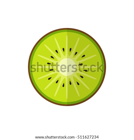 Kiwi fruit isolated on white background in flat style.