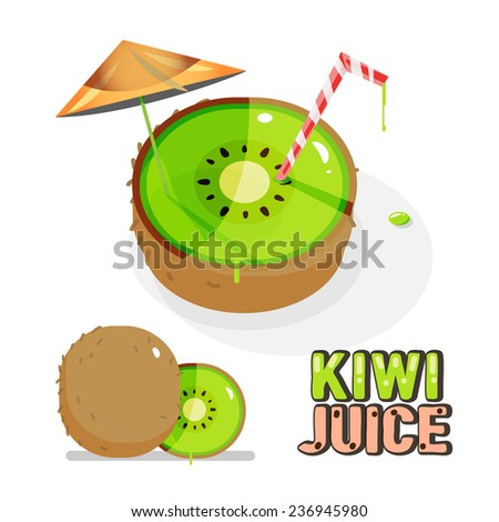 kiwi fruit. juice concept - vector illustration - stock vector